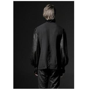 哥特式 Noble Palace Long Sleeve Black 花边 Embossed 衬衫 06