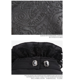 哥特式 Noble Palace Long Sleeve Black 花边 Embossed 衬衫 10