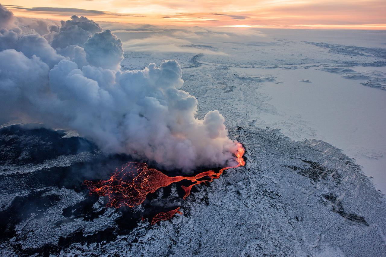 Holuhraun vulcão Eruption, Iceland