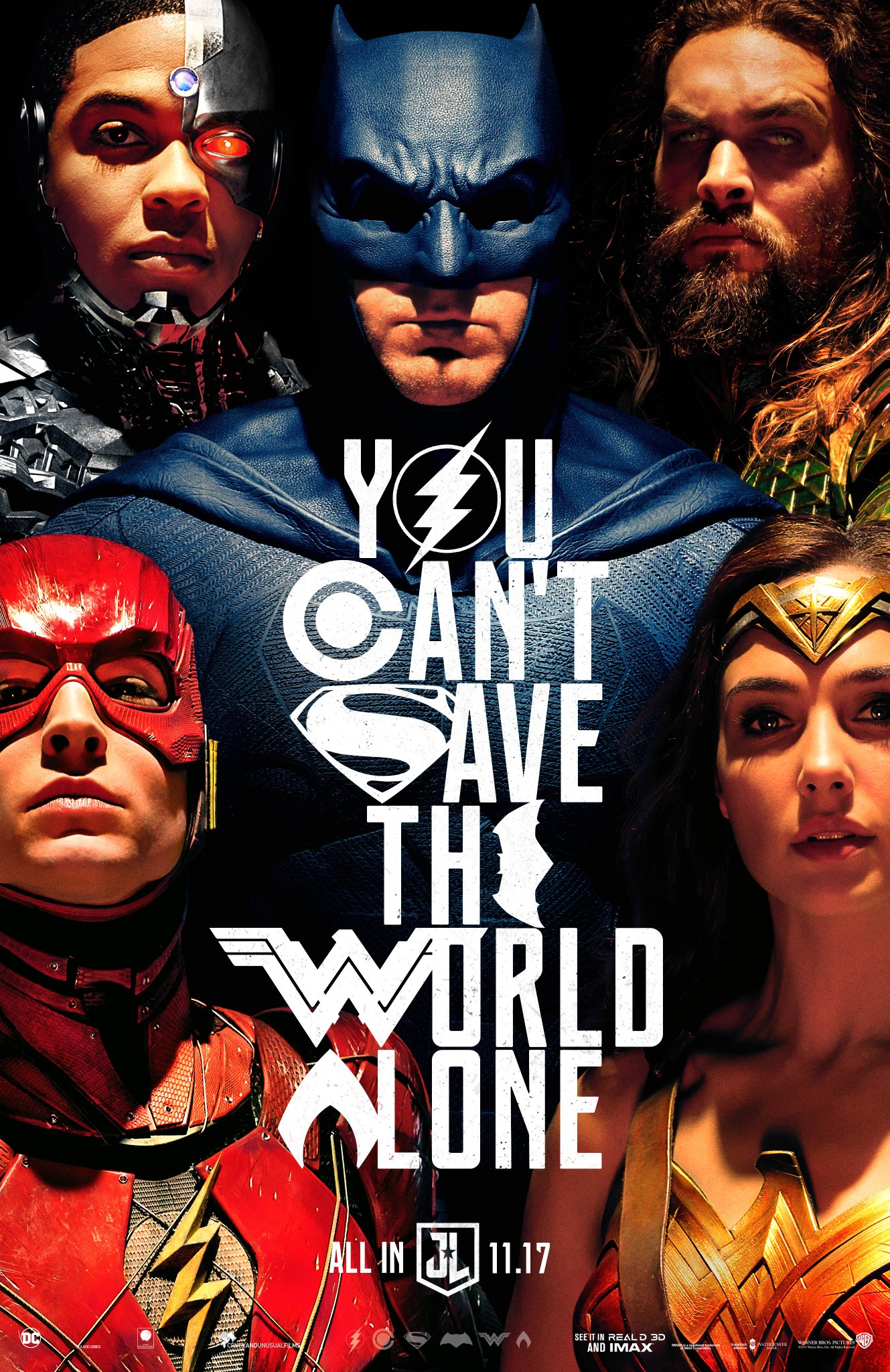 Justice League (2017) Poster - आप Can't Save the World Alone