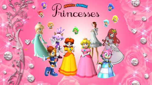 电子游戏 壁纸 called Mario & Sonic Princesses