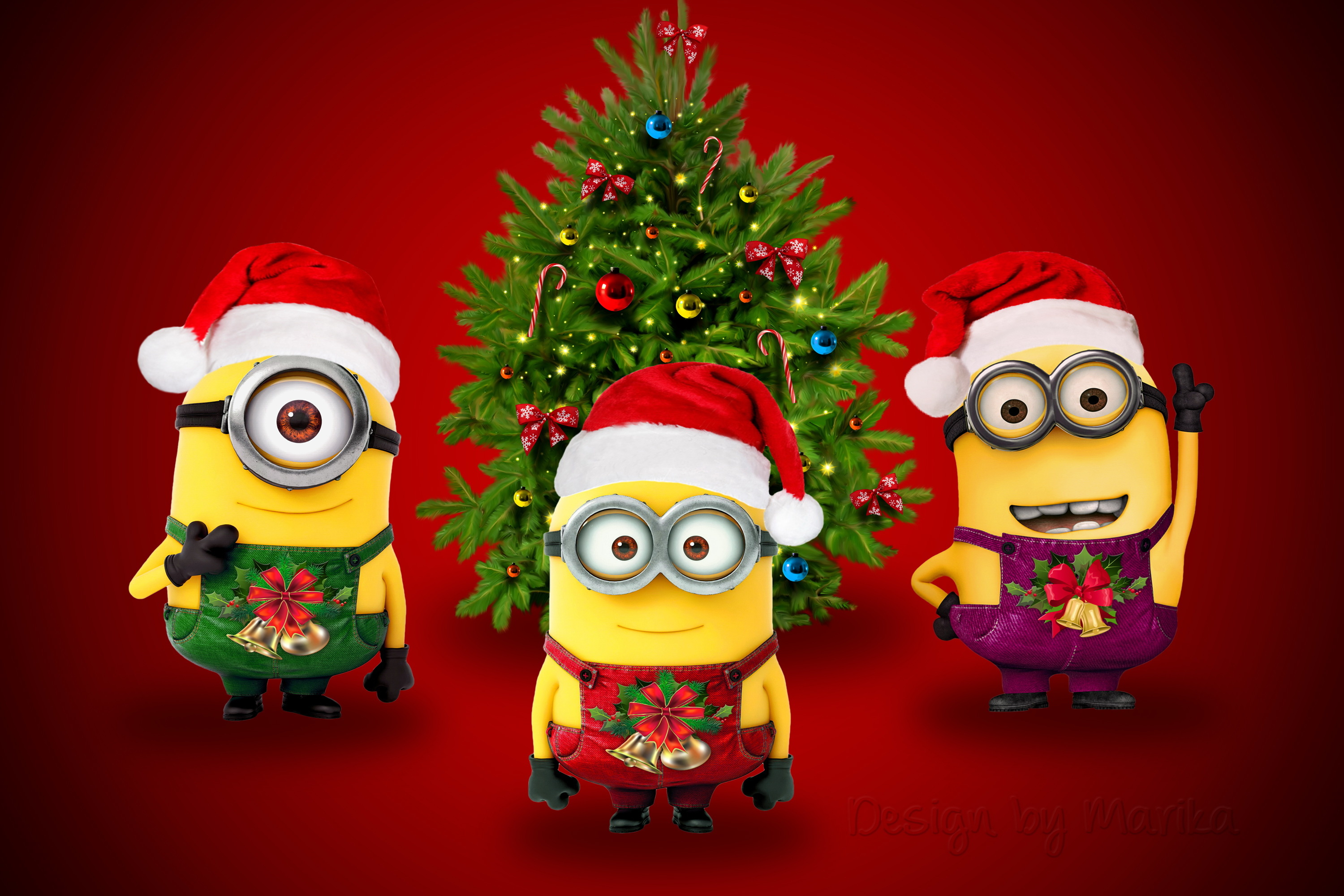 despicable me images minions wallpaper hd wallpaper and background photos - Christmas Minions