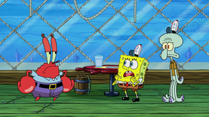 Mr Krabs, Spongebob and Squidward achtergrond