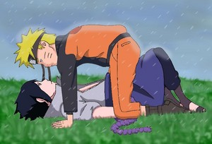 Naruto and Sasuke Under the rain