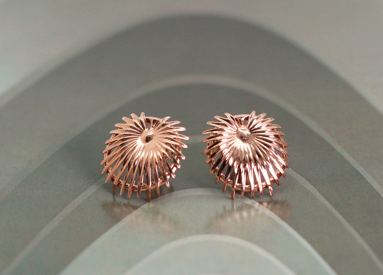vulcanjewelry images Rose Gold Palm Leaf Earrings Antoni Gaudi hong