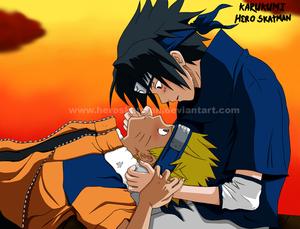 Sasuke stares Naruto's eyes
