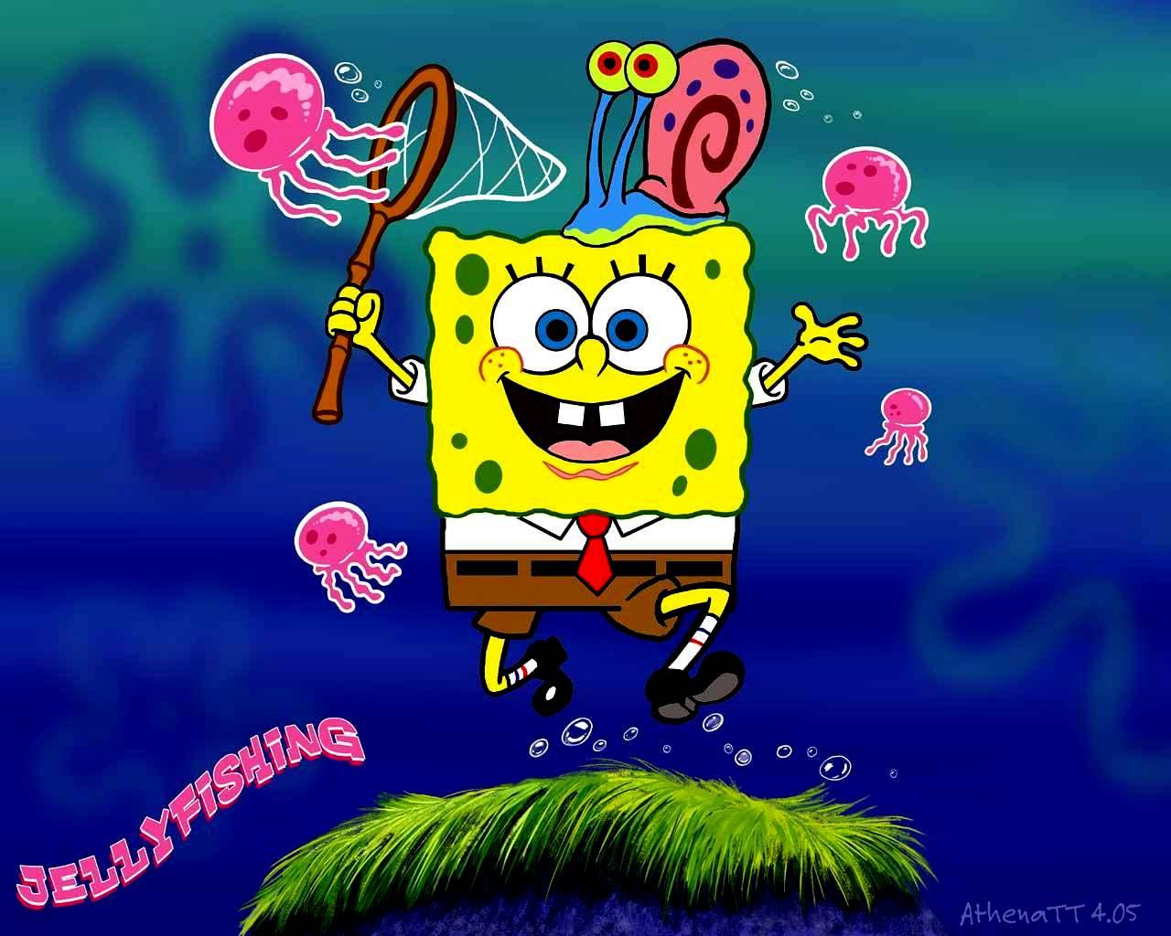 Spongebob and Gary 壁纸