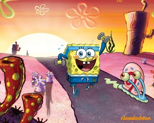 Spongebob and Gary kertas dinding