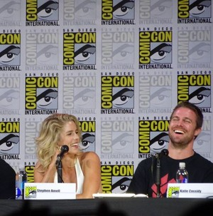 Stephen Amell and Emily Bett Rickards at SDCC 2017 Arrow panel.