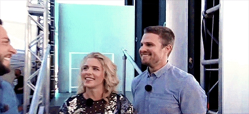 Stephen Amell and Emily Bett Rickards at SYFY Live at San Diego
