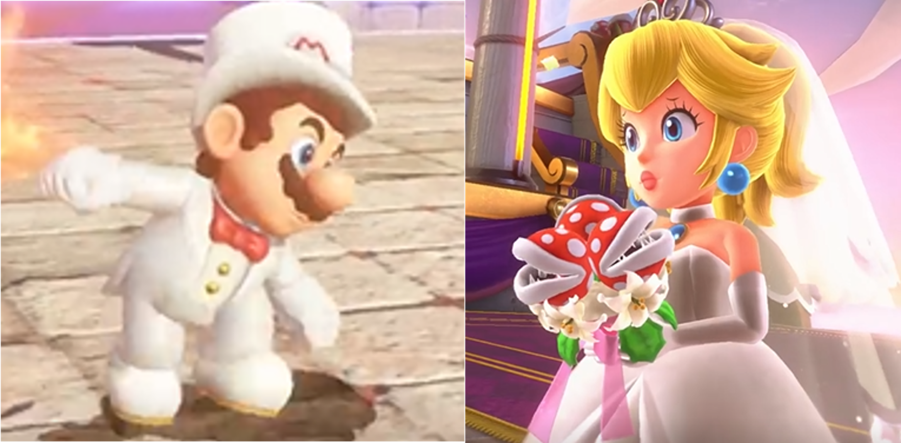 Super Mario Odyssey Mario and Princess 桃子 Wedding