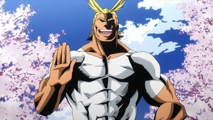 boku no hero academia 01 all might hero muscles shading bold lines spring cerise blossoms sakura