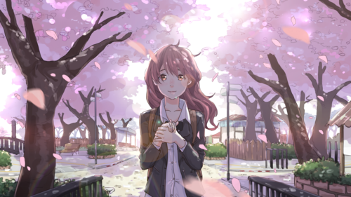 Koe no Katachi wolpeyper entitled koe no katachi nishimiya shouko sakura blossom school uniform