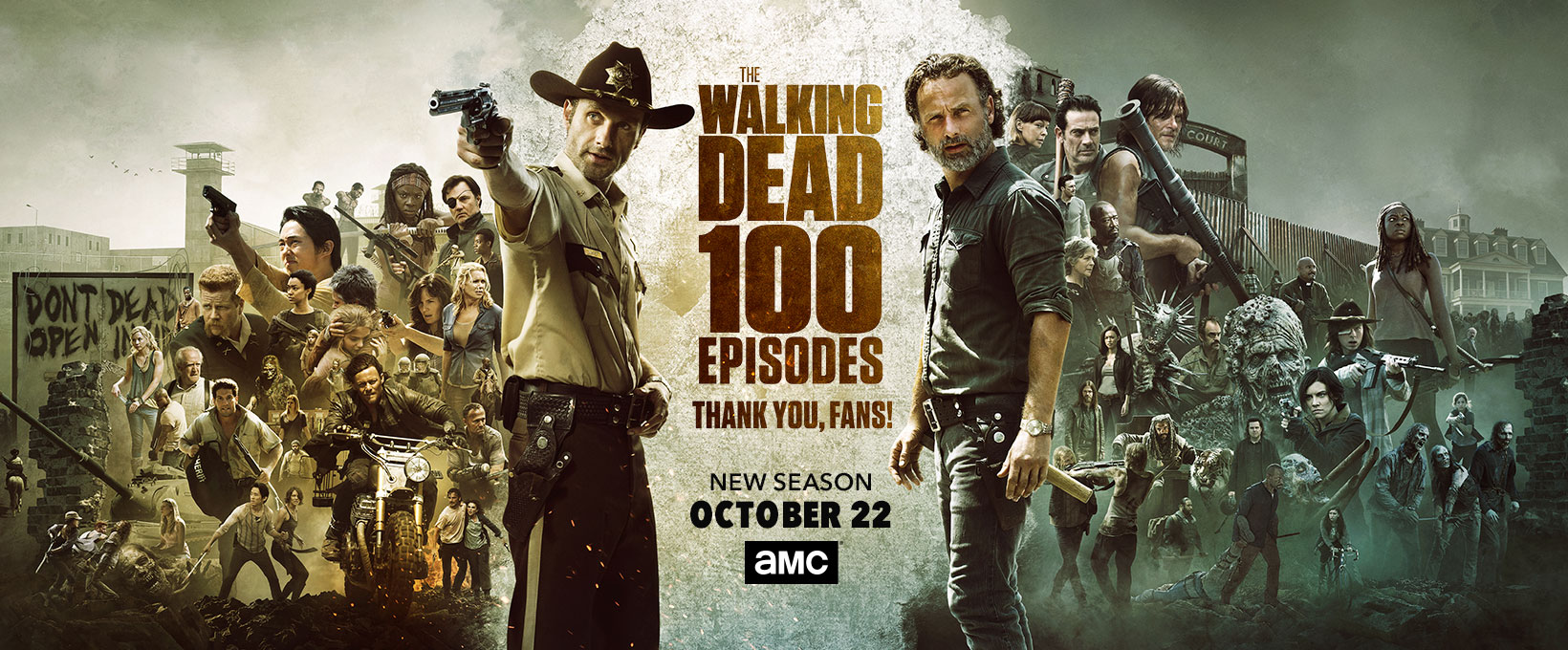 The Walking Dead kertas dinding called 100 Episodes Poster ~ Season 8