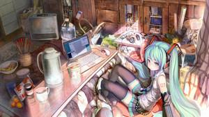 799105 animê animê girls computers comida green eyes green hair hatsune miku headphones ramen tights v