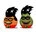 Annoying jeruk, orange and pir as Freakazoid