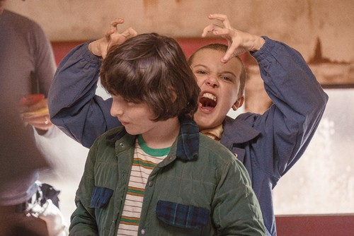 Stranger Things wallpaper titled Behind the Scenes ~ Season 1 ~ Millie and Finn