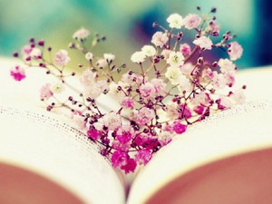 Book and Flowers,Wallpaper