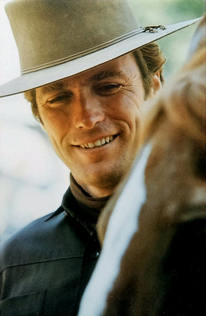 Candid shot on the set of Hang 'Em High