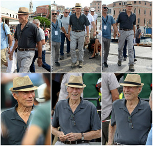 Clint Eastwood arrives on the Venice set of his new movie 'The 15:17 To Paris' (on August 16th, 2017