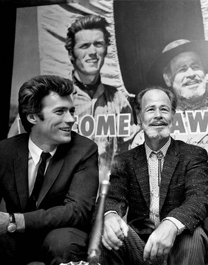 Clint Eastwood attends a press event with Paul Brinegar promoting Rawhide 1960s