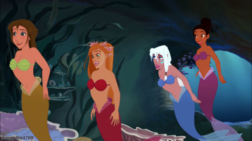 Childhood Animated Movie Heroines karatasi la kupamba ukuta entitled Jane, Giselle, Kida and Tiana as Mermaids