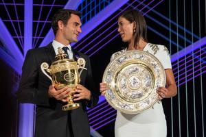 Roger Federer and Garbine Muguruza at the Champions jantar