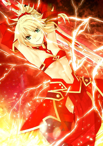 Fate Series karatasi la kupamba ukuta called Saber Of Red (Apocrypha)