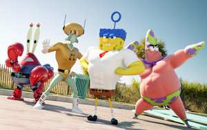 Spongebob, Patrick, Squidward and Mr Krabs