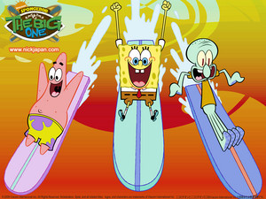Spongebob, Patrick and Squidward surfing kertas dinding