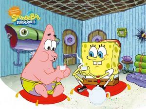 Spongebob and Patrick drinking tè