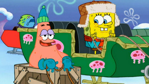 Spongebob and Patrick in a sleigh