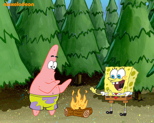Spongebob and Patrick in the forest پیپر وال