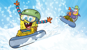 Spongebob and Patrick snowboarding