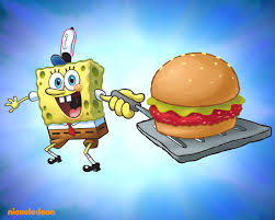 Spongebob and a Krabby Patty wallpaper