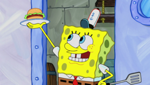 Spongebob with a Krabby Patty
