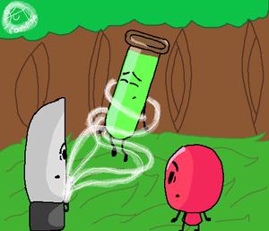 Test Tube cuchillo and Balloon
