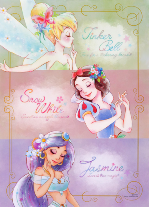 Tinker Bell, Snow White, and jasmin