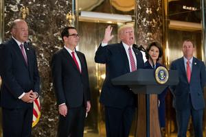 Trump Speaks On Infrastructure Meeting Held At Trump Tower - August 15, 2017