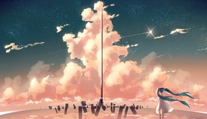 aqua hair clouds dress hatsune miku original phantania scenic sky stars twintails water wallpaper 1