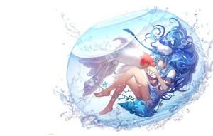 art akvarium devochka rybka aoiakamaou voda vocaloid hatsune