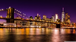 brooklyn bridge at night 2 kertas dinding 1600x900