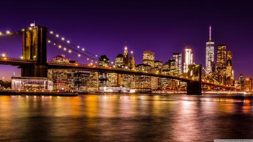 Beautiful Things 壁纸 entitled brooklyn bridge at night 2 壁纸 1600x900