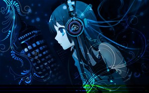 headphones abstract Musik kon akiyama mio Anime girls Hintergrund HD 2560x1600 www.paperhi.com