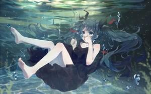 konachan com 181358 aqua eyes aqua hair barefoot bou shaku bubbles deep sea girl vocaloid dress hats