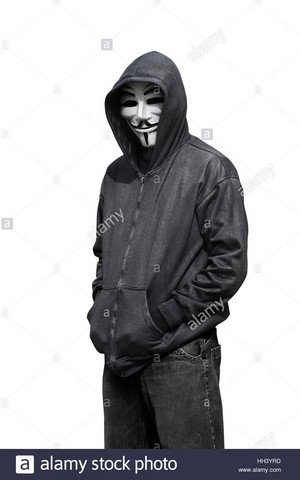 portrait of man wearing anonymous mask isolated against white background HH3YRD