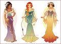 Art Nouveau Costume Designs: Esmeralda, Merida, Snow White - disney fan art