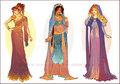 Art Nouveau Costume Designs: Meg, Jasmine, Aurora - disney fan art