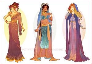 Art Nouveau Costume Designs: Meg, Jasmine, Aurora