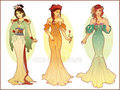 Art Nouveau Costume Designs: Mulan, Belle, Ariel - disney fan art